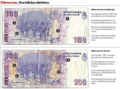 Billetes de 100 pesos con defectos