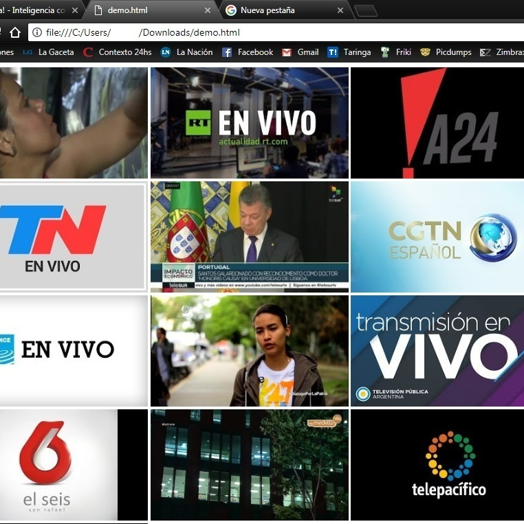 Tv por internet: Youtube [sin programas] Yapa